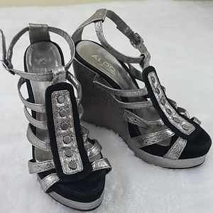Aldo Sz 6.5 Black and Silver Metallic Wedge Heels